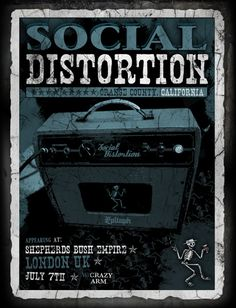 Gig posters, flyers and handbills from around the world! Rock Posters, Band Posters, Movie Posters, Mike Ness, Social Distortion, Cool Bands, Album Covers, Arms, Graphic Design