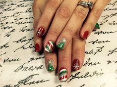 Gel nail design:  Christmas nails inspired using glitter and gelish colors, CND brisa