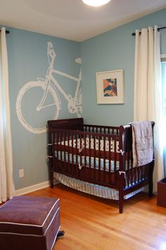 Bicycle wall art for nursery--this is almost the exact color of the walls and floors in the nursery!