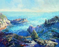 impressionism art,seascape art, oil painting, Evening on Pacific