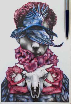 Ideas drawing pencil sketches medium for 2019 Sharpie Drawings, Pencil Drawings, Art Drawings, Fantasy Paintings, Fantasy Art, Skull Sketch, Gcse Art Sketchbook, Pop Art Wallpaper, Human Art