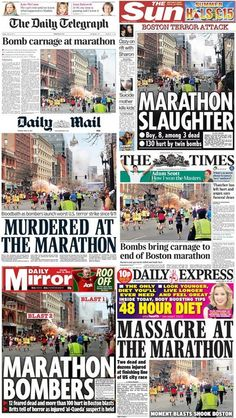 "Read ""The World Reacts in Horror to the Boston Marathon Bombing (Video and Photos)"" and other More, Other articles from Total Pro Sports. Newspaper Front Pages, Newspaper Design, Old Newspaper, Boston Marathon Bombing, Newspaper Headlines, Media Studies, Obama, Picture Video, Magazines"