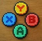 XBox 360 Button coasters hama beads by ThePixelDeli Perler Beads, Perler Bead Art, Fuse Beads, Melty Bead Patterns, Hama Beads Patterns, Beading Patterns, Pixel Art, Nerd Crafts, Diy And Crafts