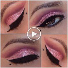 Valentines Make-up. Colorful Eye Makeup, Be My Valentine, Makeup Inspiration, Make Up, Lipstick, Beauty, Valentines Day Makeup, Day Makeup, Heart