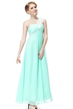 Aqua Chiffon Long Dress