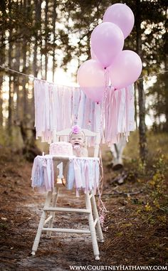 Outer Banks Portrait Photographer, OBX Portraits, Baby in chair, 1year portraits, cake smash, balloons