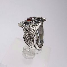 Phoenix Sterling Silver Bird Ring. Ring with gemstones. by RuyaN