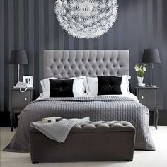 bedroom+color+ideas | Black and white bedroom decorating ideas, stylish lighting and decor ... And the wall paper