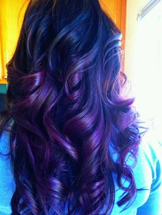 Dark brown haircolor w/ purple ombre. Think I will do this next get rid of the red