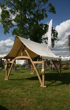 Cruck marquee at the Hay festival in 2012.