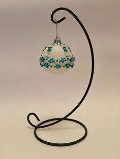 Christmas Tree Decoration / Blue and Silver Handbeaded