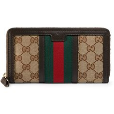 a0b734ac35e6 Gucci Vintage Web Gg Canvas Wallet ($595) ❤ liked on Polyvore featuring  bags, wallets, accessories, women, brown wallet, 12 card wallet, gucci  wallet, ...