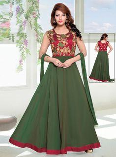 Green Georgette Readymade Long Anarkali Suit 107938