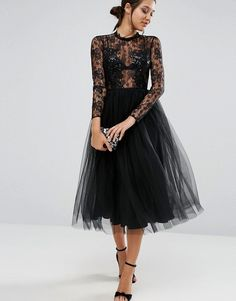 ASOS | ASOS Lace and Embellished Bodice Dress with Mesh Midi Skirt