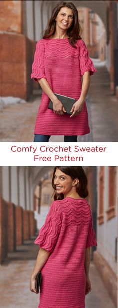 Comfy Crochet Sweater Free Pattern in Red Heart Fashion Soft Yarn