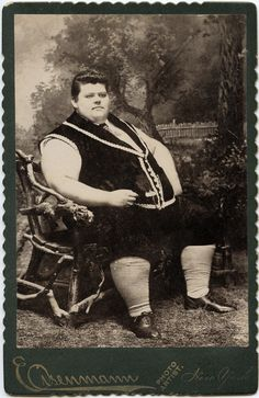 1890 original cabinet card of Chauncey Morlan, a Victorian sideshow attraction, pictured here at 18 years old, weighing over 500 pounds.