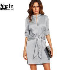 ee66218658642c SHEIN Elegant Autumn Dress Short Dresses for Women Autumn Ladies Plain  Silver Round Neck Roll Up Long Sleeve Tie Waist Dress-in Dresses from  Women s ...