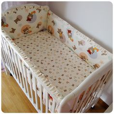 42.80$  Buy here - http://aliaon.shopchina.info/go.php?t=32337720443 - Promotion! 6PCS Animals Baby Bedding Set 100% Cotton Comfortable Crib Bed Bedding Set (bumpers+sheet+pillow cover)  #magazine