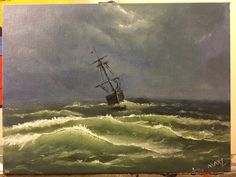 Sailing Through Thunderstorm - Acrylic Painting - 9x12 inch - signed by MaxZgallery on Etsy