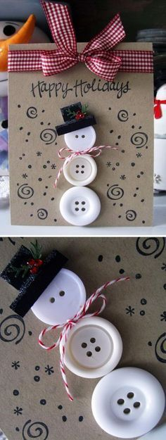 Handmade Christmas Card Ideas 2017 - - Many peoples spend lots of time and resources to make or acquire unique gifts for family and friends. But, accompanying them with the usual generic card is an outdated practice. This coming Christm…. Simple Christmas Cards, Christmas Card Crafts, Homemade Christmas Cards, Kids Christmas, Homemade Cards, Holiday Crafts, Christmas Projects, Christmas Ornaments, Button Christmas Cards
