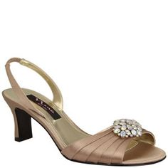 Shimmering satin and an elegant low heel all topped off with a stunning crystal brooch | Nina Shoes Gileda www.NinaShoes.com