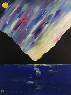 Handmade Acrylic Painting On Stretched Canvas Landscape, Ocean, Wall Art, Home Decor, Gift Idea Sky Painting, Landscape Artwork, Fantasy Paintings, Canvas Artwork, Stretched Canvas, Beautiful Paintings, Promotion, Ocean, Hand Painted