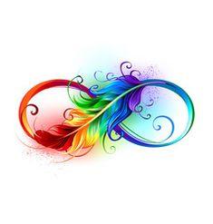 Infinity symbol with rainbow feather vector - Infinity symbol with rainbow feather vector - Tribal Tattoos, Tattoos Skull, Body Art Tattoos, Sleeve Tattoos, Lgbt Tattoos, Symbol Tattoos, Anchor Tattoos, Moon Tattoos, Bird Tattoos