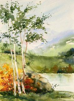 Watercolor Paintings For Beginners, Watercolor Projects, Watercolor Pictures, Watercolor Landscape Paintings, Watercolor Trees, Watercolor Drawing, Watercolor Techniques, Nature Paintings, Abstract Watercolor
