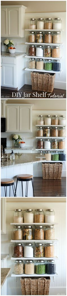 Kitchen Jar Shelves Tutorial DIY Jar Shelf Tutorial using the big airtight jars from World Market!DIY Jar Shelf Tutorial using the big airtight jars from World Market! Kitchen Jars, Kitchen Redo, Kitchen Pantry, Kitchen Storage, Kitchen Dining, Kitchen Remodel, Kitchen Shelves, Kitchen Ideas, Open Shelves