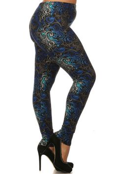 Achieve a funky and stylish look in our Hypnotic Swirl Plus Size Leggings.  The unique blue, gray and black swirl design has a modern feel that is great for dressing up or down.  This is a bold leg fashion piece that will flatter your legs and show off your daring sense of style. Pair our Hypnotic Swirl Plus Size Leggings with some ankle boots and a leather jacket for a killer look.