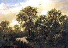 Meindert Hobbema - Boslandschap met een beek en huisjes