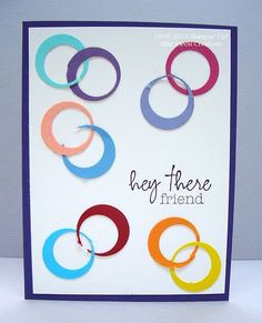 handmade greeting card ... pairs of funky circles in bright colors form a pretty pattern ... circles punched twice, once for the big circle and then punched again to remove a smaller circle ... fun card ... Stampin' Up!