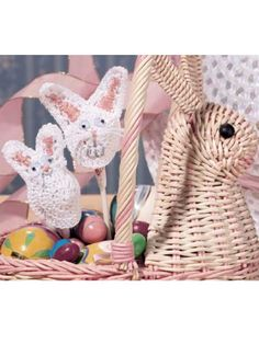 Easter Bunny Candy Covers  You can finish these cute covers in minutes for party favors, small gifts or basket decorations.  Designed by Angela Tate  free pdf from free-crochet.com
