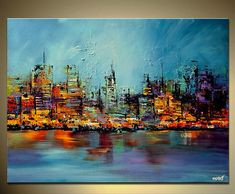Fine Art Prints and Contemporary Art on Canvas by Osnat - Embellished and Ready to Hang. The print is embellished by myself. Once the print is ready, I add few strokes of palette knife to enhance its vibrancy and look. Title: Future City. Sides painted black. All my paintings are