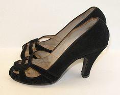 1940s Shoes Vintage Evening Pumps van VioletsEmporium op Etsy