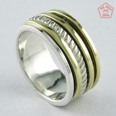 Size 8 US, TWO TONE PLEASING 925 STERLING SILVER SPINNER RING, RN4393 #SilvexImagesIndiaPvtLtd #Spinner