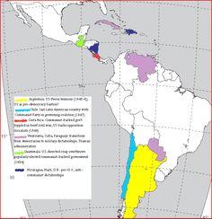 Map of U.S. Cold War intervention-alliances in Latin America under Truman and Eisenhower.