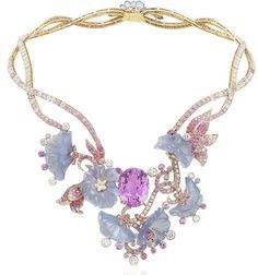 Van Cleef  Arpels: Caché-Révélé necklace - Palais de la chance collection Pink gold, chalcedony, diamonds, sapphires, garnets, red and black spinels and one 34-carat oval-cut kunzite.