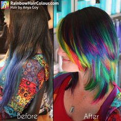 Zoe's hair from the side. So the back panel and fringe had neon double rainbows. Then the rest was a colour melt of peacock/jewel tones.  Hair by Anya Goy. Visit the website/blog for tutorials, book and video on how to do bright hair: www.rainbowhaircolour.com.  #brighthair  #manicpanic #haircolour #rainbow #rainbowhair #bluehair #blue  #modernsalon #anyagoy  #hairporn #btcpics #hairinspo #unicorntribe #behindthechair #beauty #hair #hairdressermagic #instahair #color #haircolor #hair