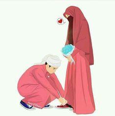 kumpulan anime kartun romantis anyar - my ely Cute Couple Cartoon, Cute Couple Art, Anime Love Couple, Cute Muslim Couples, Muslim Girls, Cute Couples, Muslim Couple Photography, Photography Pics, Islam Marriage