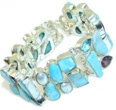 Path Of Life!! Light Blue Larimar Sterling Silver Bracelet