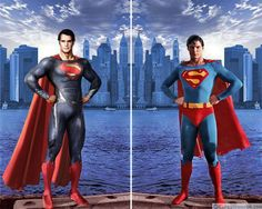 Henry Cavill & Christopher Reeve as Superman