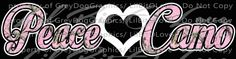 Pink Camo and White PEACE LOVE CAMO Vinyl Decal Sticker with heart in the center. Deer Girls Hunting, Girl Hunters,Girls Hunt, Hunting Decal, Hunting Decal for Girls for Vehicle Auto Car Truck Window
