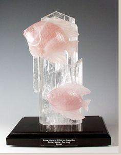(JPEG Image, 285 × 366 pixels) Peter Mueller Carved Rose Quartz Fish on Selenite Crystal Lovely. Pink Gemstones, Minerals And Gemstones, Crystals Minerals, Rocks And Minerals, Stones And Crystals, Rose Quartz Crystal, Pink Quartz, Crystal Uses, Mineral Stone