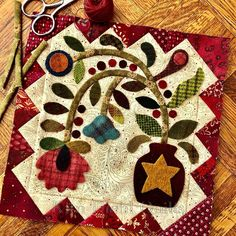 Wool Embroidery, Wool Applique, Applique Quilts, Quilt Block Patterns, Applique Patterns, Quilt Blocks, Small Quilts, Mini Quilts, Primitive Quilts