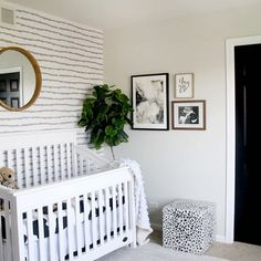 A gender neutral nursery by for the win! Feature print: Lines by Boy Room, Kids Room, Nursery Inspiration, Nursery Ideas, Temporary Wallpaper, Nursery Neutral, Pattern Mixing, Girl Nursery, Gender Neutral
