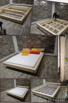 Enhance Your Dream with Our Amazing Floating Bed Frame Design Ideas - Bett - Bed Frame Design, Diy Bed Frame, Bed Design, House Design, Cool Bed Frames, Floating Bed Frame, Floating Platform Bed, Platform Beds, Diy Platform Bed Frame