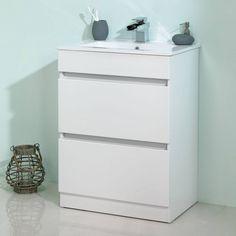 Plan White Floor Mounted 600 Drawer Unit & Basin