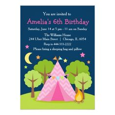 10 best girls slumber birthday party invitations images on girl camping sleepover birthday party invitation stopboris Image collections