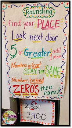 Rounding anchor chart for student reference - from Caffeinequeenteacher.com